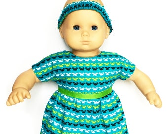 Baby Doll Dress, Headband, Flowers, Turquoise Blue, Green, Black, White, Bitty Baby, 15 inch Doll Clothes
