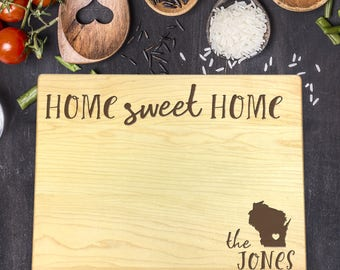 New Home Gift, Personalized Cutting Board, Gift for Couple, Gift for Her, Gift for Him, Home Sweet Home Gift, Last Name Gift, B-0025 Rec