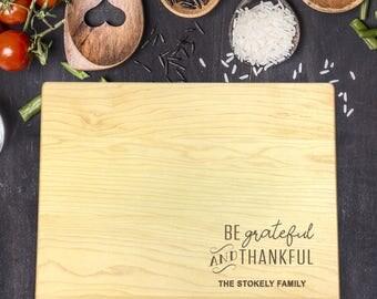 Custom Cutting Board, Custom Cutting Board Wedding, Custom Cutting Board Wood, Wedding Gift, Housewarming Gift, Thankful, B-0122