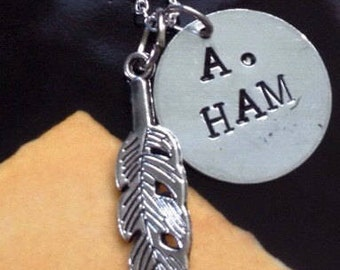 A. Ham hand stamped necklace OR keychain, hamilton