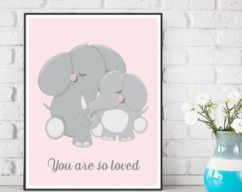 Baby girl nursery, Nursery decor, Poster quote baby, Elephants poster, Nursery wall art, Love quote baby, Children poster, Baby birth gift