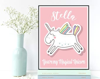 Personalized gift, Personalized nursery decor, Custom name art poster children, Children poster, Nursery art, Unicorn poster, Gift idea baby