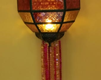 Vintage Lantern! Galvanized Metal Lantern Magenta and Yellow  Glass with Glass Beads and Wire Wrapped Cross