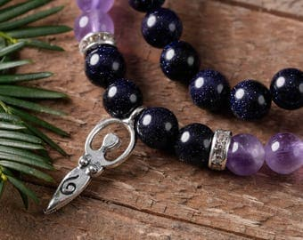 PURPLE GOLDSTONE and AMETHYST Power Bracelet w/Goddess Charm - Purple Goldstone, Amethyst Bracelet, Goldstone Jewelry, Amethyst Quartz E0596