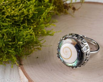Size 9+ ABALONE & SHIVA EYE Shell Ring - Adjustable Ring Silver, Abalone Ring, Abalone Jewelry, Shell Jewelry, Mother of Pearl Ring E0716