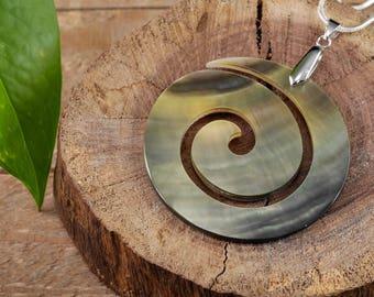 BLACK LIP SHELL Open Spiral Pendant - Shell Jewelry, Spiral Shell Pendant, Shell Necklace, Mother of Pearl Necklace, Spiral Necklace E0717