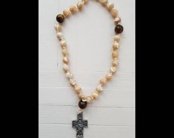 Orthodox Christian Prayer Beads Russian Greek Rosary Chotki Komboskini - Shell, Brown Tiger Eye Stone Beads Angel Crucifix