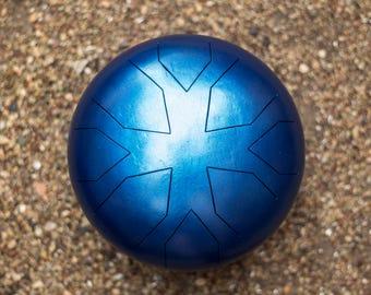 Handmade Hank Drum / Tank Drum - Slit Drum - Steel Tongue Drum - Handpan - Percussion / Blue Metallic color