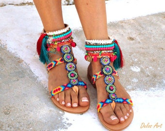 INKA Friendships  Boho Sandals, Pom pom summer shoes,  Handmade Sandals, Greek Sandals, hippie sandals, Bohemian sandals