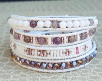 White Leather 4 wrap bracelet turns purple and white