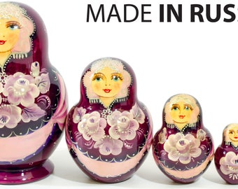 """Nesting Doll - """"Anastasia"""" - 5 dolls in 1 - MEDIUM SIZE - Purple Color - Hand-painted in Russia"""