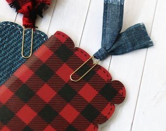 MADE TO ORDER Buffalo Plaid/Check and Denim Fabric Planner Clips