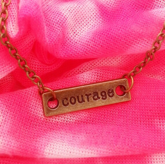 Antique Bronze Silver Courage Necklace, Brave Courage Charms, Crossfit Fitness Inspirational Jewelry, Motivational Gift, Courage Pendant