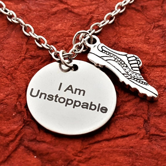 CrossFit Jewelry, Gifts for Runners, Workout Jewelry, Triathlon Necklace, I Am Unstoppable Charm Necklace, Fitness Gifts Charms, Word Charms