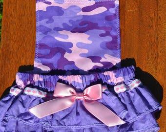 Baby girl pink and purple camo ruffle bottom romper, baby girl bubble romper, bubble romper, camo romper