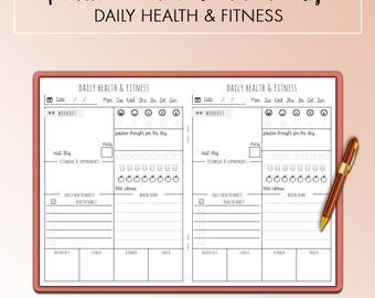 Traveler's Notebook B6 Daily Health & Fitness Insert Printable