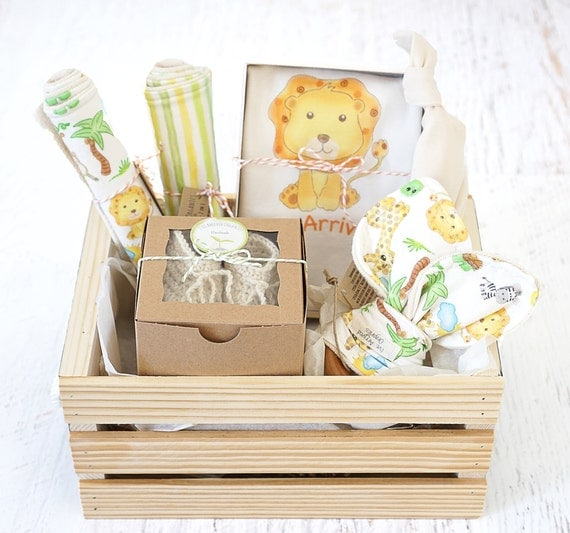 Baby gift basket personalize babys name organic baby baby gift basket personalize babys name organic baby gift basket lion theme baby shower gift newborn baby gift safari coming home ba negle Images