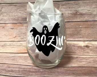 Ghost Boozin' Wine Glass - Halloween Wine Glass