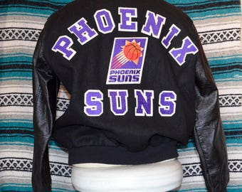 Phoenix Suns Chalk Line Bomber Letterman Jacket 90s Large NBA