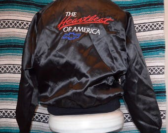 Vintage Chevy Satin Baseball Jacket The Heartbeat of America Black Large Chevrolet