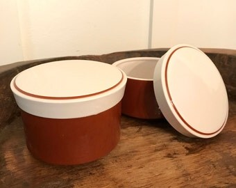 Vintage Mikasa Light N Lively Covered or Lidded Rust Brown and White Sugar Bowls Set of 2 | D5850