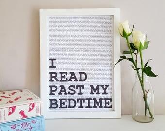 I Read Past My Bedtime - Book Wall Art - Reading Quote Print - Gift for Book Lover - Reading Nook Poster - Book Quotes Decor - Literary Art