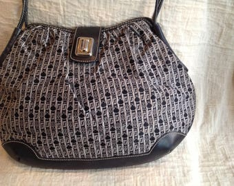 Judith Leiber navy leather and silver gray fabric 1980's cross body shoulder handbag designer  purses
