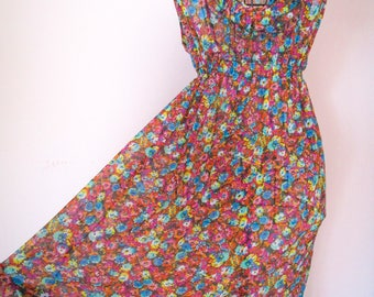 Summer dress with floral motifs cover-Beach dress