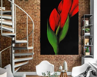 Red tulip,contemporary art,original oil on canvas,red flower,living,home decor,gift,eva ciuti