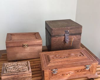 4 Wooden Boxes (sold separate or together)