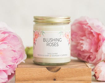 Blushing Roses Scented Soy Candle |  Mason Jar Candle | Birthday Gift for Her | Housewarming Candle Gift