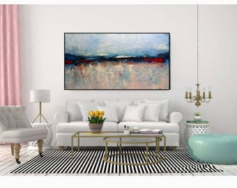 Large Wall Art Canvas Blue Modern Abstract Giclee Print Contemporary