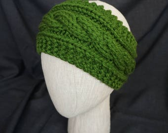 Olive Green Hand Knit, Cabled Headband; Large, Adult