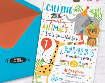 Party Animal Invitation Calling All Party Animals Zoo Birthday Invitation Party Animal Birthday Zoo Birthday Safari Birthday Invite jungle