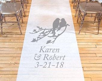 Love Birds Personalized Wedding Aisle Runner - Plain White Wedding Ceremony Aisle Runner - DGI22-A56