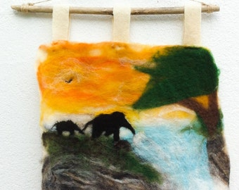 Elephants at Waterfall. Felted painting.