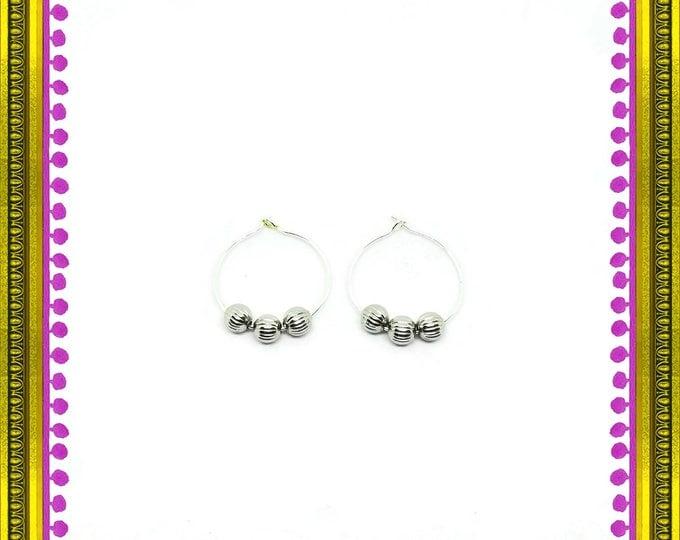 Silver Fluted Bead Hoop Earrings, Nickel Free Hoop Earrings, Beaded Hoop Earrings, Unique Birthday Gift, Gift for Her