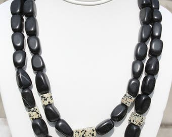 Subtle Blackstone and Dalmation Jasper Double Strand Necklace with Silver Accents