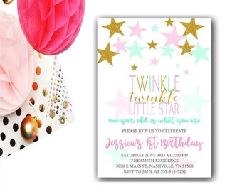 Twinkle Twinkle Little Star First Birthday Invitation | Pink And Gold Birthday | Girl 1st Birthday Invite | Girl First Birthday | Printable