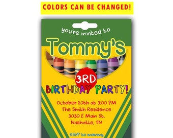 Crayon Birthday Invitation | Colorful Birthday Invitation | Crayola Birthday Invitation | Art Birthday Invitation | Coloring Birthday Invite