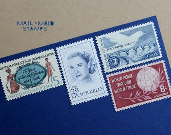 Grace in Pink || Set of unused vintage postage stamps to mail 5 standard letters
