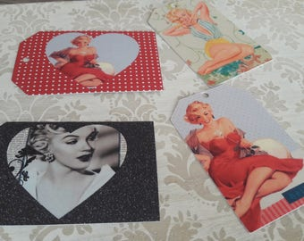 Set of 8 Pin Up Girl Marilyn Monroe Retro Vintage GIft Tags with Twine