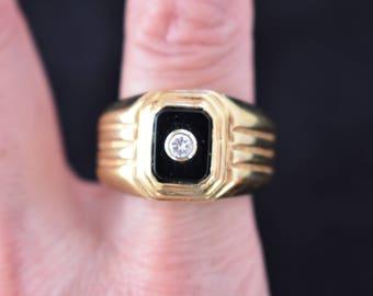 Vintage 14K GE Men's Signet Ring Black Onyx Joe Esposito Signed Espo Size 9.75