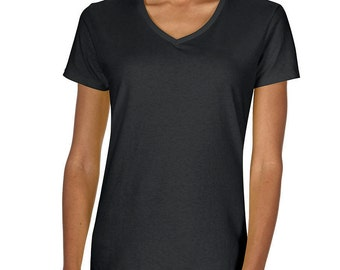 Women's Blank Black T-Shirt with Fringe Options