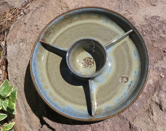 Stoneware Pottery, Divided Condiment Bowl, Serving Dish, Serving Bowl, Salsa Server, Divided Tray, Wheel Thrown Pottery
