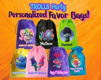 """TROLLS Party-10 Personalized Favor Bags, TROLLS Themed Party, Drawstring Bags 6.5"""" x 9""""  and 6""""x 8"""" nches"""