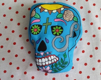 Handmade Mexican head Pebble painted paperweight