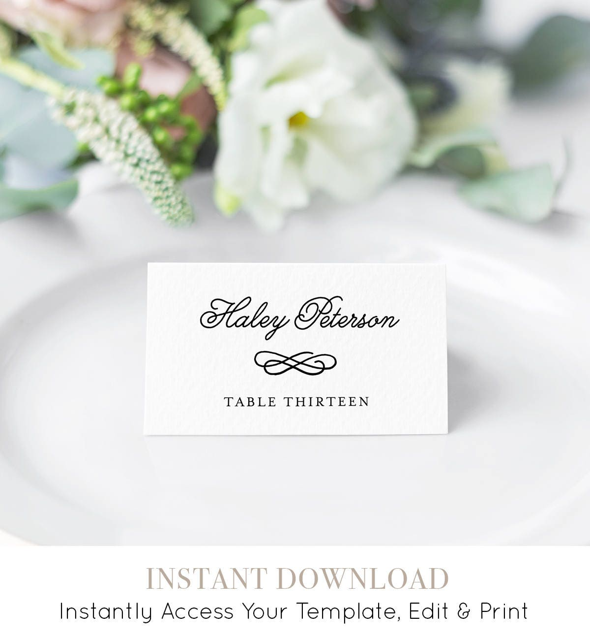 Wedding Place Card Template Printable Escort Card Name