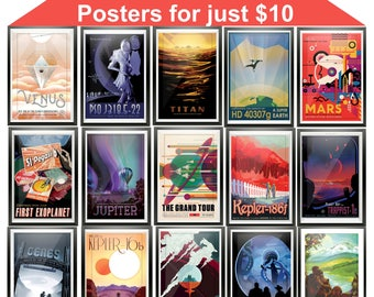 NASA Posters, Complete 15 Piece Set, Instant Download, NASA Print, Visions of the Future, The Grand Tour Posters, Space Travel Printables