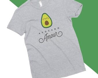 Avocado Amour T-Shirt, Vegan, Vegetarian, Shirt, Plant-Based Clothing, Foodie, Healthy, Vegetables, Cute, Funny, Love, American Apparel